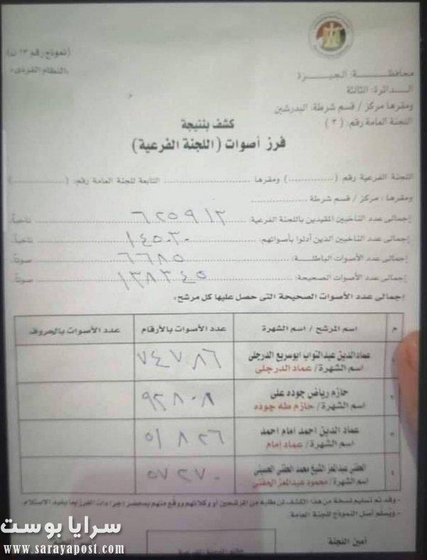 نتيجة انتخابات الاعادة في دائرة البدرشين مجلس نواب 2020